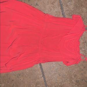 Salmon pink dress with ruffle